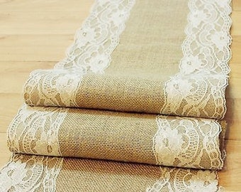 Natural Burlap Table Runner with Lace Wedding Decor Rustic Shabby Chic Hessian Jute Outdoor Party