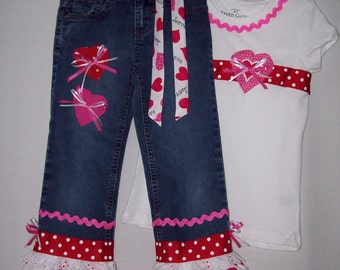 Custom boutique girls Valentine's Day jeans & ribbon shirt all sizes available