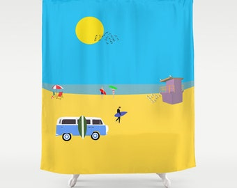 Surfer summer beach shower curtain-Sixties van-Summer shower curtain-Cool shower curtain-71x74 shower curtain-Colourful Modern Curtain