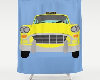 New York Yellow Taxi shower curtain-Manhattan Cab Shower curtain-Cool Shower curtain-Colourful yellow cab curtain-Automobile Curtain