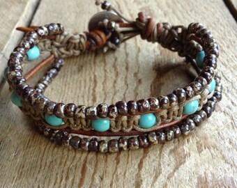 16 Turquoise bohemian bracelet boho chic beaded boho bracelet fashion jewelry rustic bracelet hippie jewelry womens jewelry boho jewelry