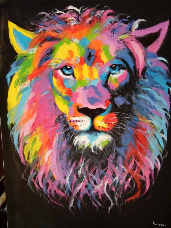items similar to lion painting oil painting on canvas on etsy