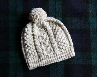 Caiseal Aran Fisherman Hat Oyster White Toddler Size
