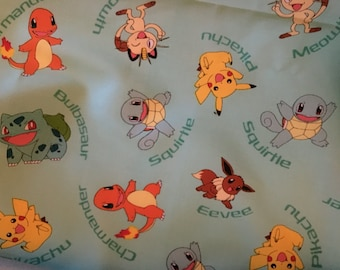 Pokemon bandana for dog cat or puppy with Pikachu Charmander Eevee Squirtle reversible adjustable tie on bandana dog scarf