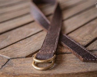 Bison Leather D Ring Cinch Belt   Handmade in the USA   Brown Leather Belt   D Ring Belt