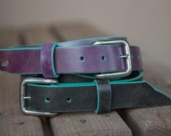 Turquoise Borders   Leather Belts   Purple Belt   Black Belt   Black Leather Belts   Handmade in the USA