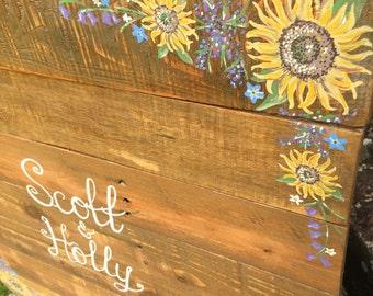 Rustic Wooden Guest Book, Wedding Guest Book Alternative, Wedding Sign, Wood Board - Handpainted - Personalised
