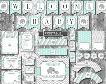 Mint Elephant Baby Shower Decorations Package Digital Printable PDF Instant Download Boy or Girl Baby Shower-Welcome Baby