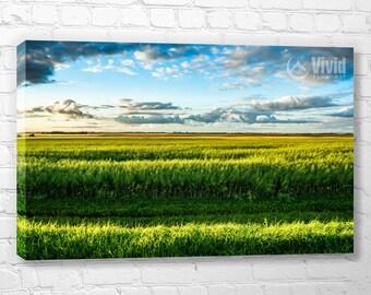 Green grassland, canvas art print, prairie landscape, multi canvas print, prairie grasslands, blue and green, 3 panel art, 4 panels print