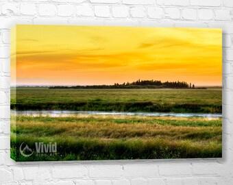 Wall art canvas, prairie canvas art print, sunrise picture, plains at sunrise, multi panel art, ready to hang living room wall art, art gift