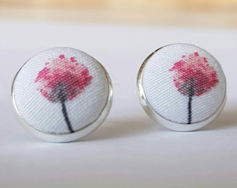 Floral fabric button silver stud earrings.