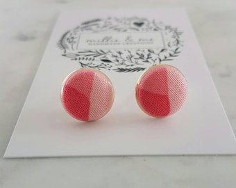 Rose gold and pink fabric stud earrings