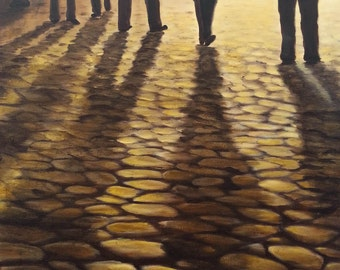 """ORIGINAL Modern painting Palette Knife  - Where are we going? - part of my Series """" Shadows"""""""