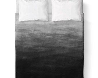 Dark Grey Watercolor Ombre Duvet Cover/ Comforter cover/ 3 sizes available, king, queen, twin /bedding/  Grey Ombre