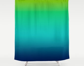 """Lime Green Aqua Blue Ombre Shower Curtain / OMBRE / Bright / Bath Curtain/ Standard Length /(71""""x74"""") Made To Order"""