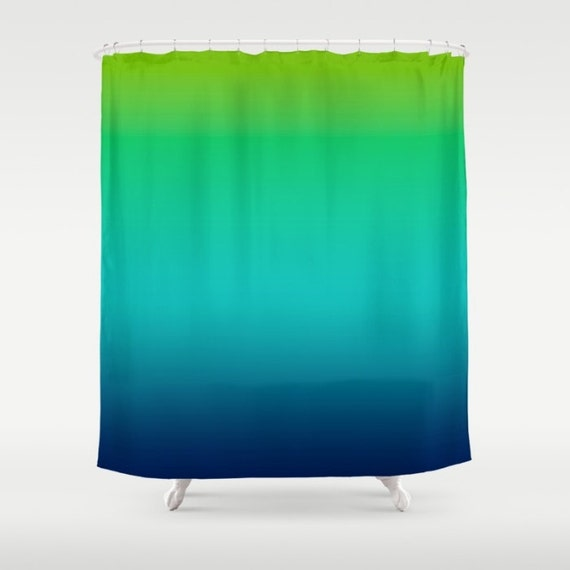 Lime Green Aqua Blue Ombre Shower Curtain By