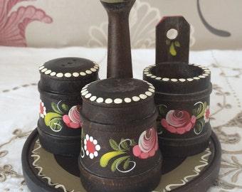 Folk Art Wooden Cruet Set. Hand Painted. Salt, Pepper and Mustard/Relish Pot