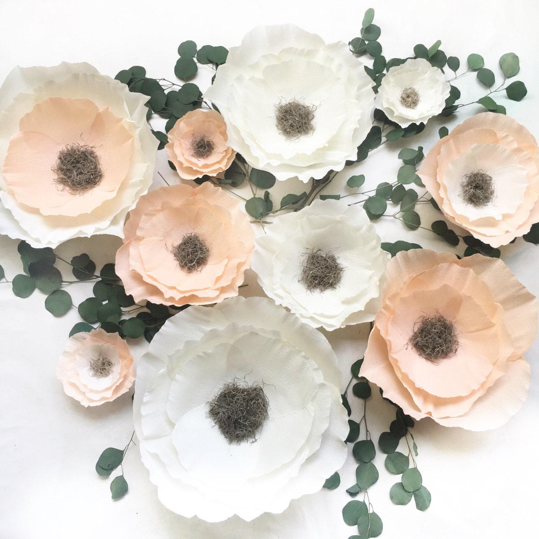 Boho crepe paper flower set nursery wall flowers paper for Crepe paper wall flowers