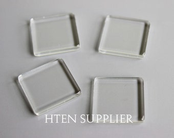 25mm Double Flat Square Glass Cabochons,High Clarity 25mm Square Clear Glass Cabochons