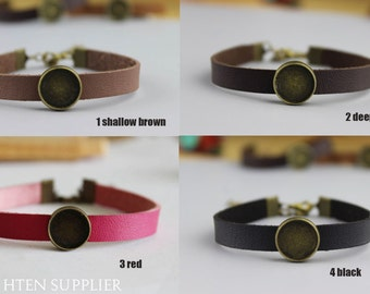 10pcs Adjustable Bangle Bracelet With 10mm 12mm 14mm 16mm Pad Setting, cuff bracelet blank,12mm bracelet settings