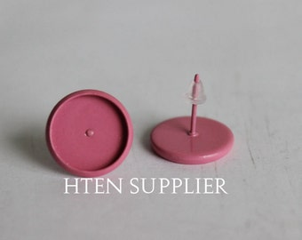 20/100pcs Pink paint Earring Posts With Round 12mm Pad,8mm 10mm 12mm 14mm 16mm Earring setting , Earrings Blank