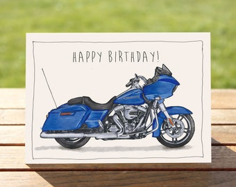 """Motorcycle Birthday Card   Blue bagger   A6 - 6"""" x 4"""" / 103mm x 147mm   Motorbike Gift Card, Motorcycle Gift Card"""