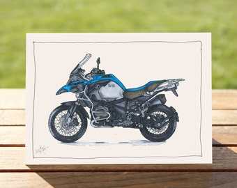 """Motorcycle Gift Card - Blue Adventure bike 