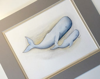 Mother Whale and her baby 8x10 watercolor. Whale nursery decor. Whale nursery wall art. Blue and gray nursery.