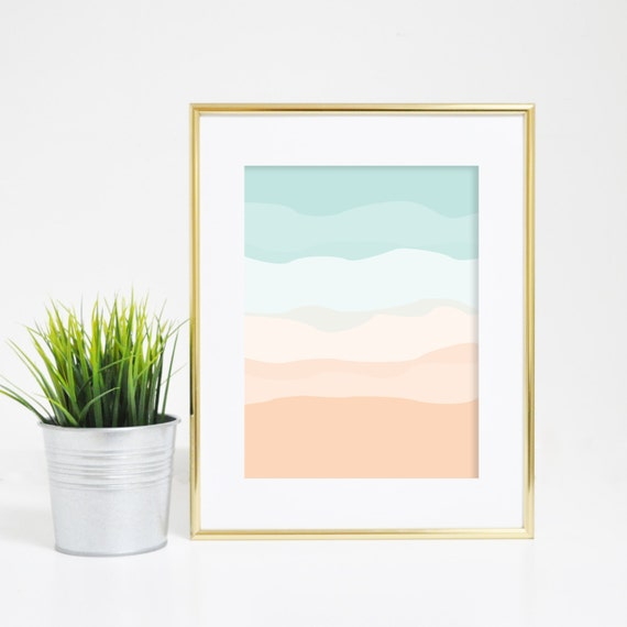 Wall Art, Minimalist Prints, Nursery Wall Art, Mint Peach, Mint Art, Nursery Prints, Minimalist Home Decor, Printable Art, Downloadable Art