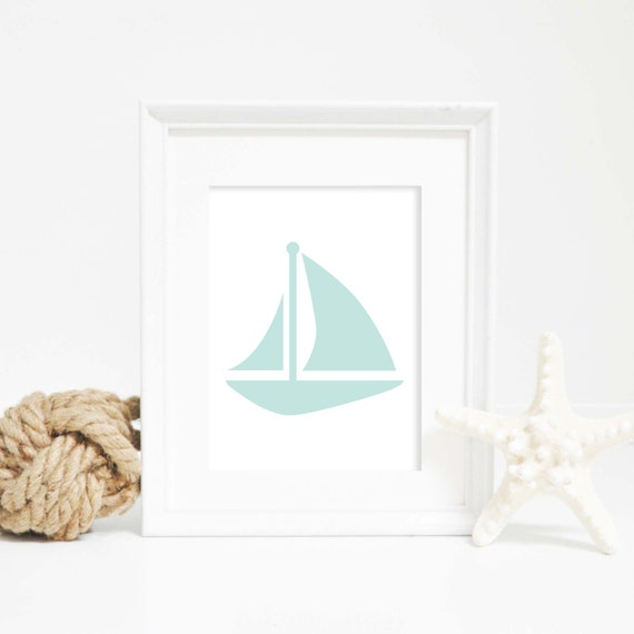 Coastal Wall Art, Baby Boy Nursery, Sailboat Print, Printable Art, Sail Boat Art, Nautical Decor Mint Prints Nautical Print Instant Download