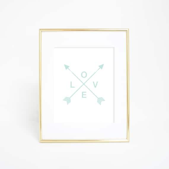 Tribal Arrow Prints, Love Print, Mint Prints, Digital Prints, Arrow Prints, Tribal Arrows, Printable Wall Art, Arrow Love Print Mint Nursery