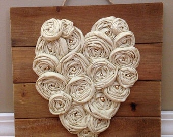 Heart Sign with Fabric Rosettes