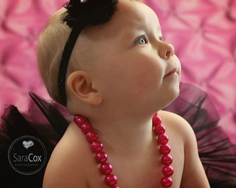 Hot Pink/Black Kara Baby Flower Headband Photo Prop