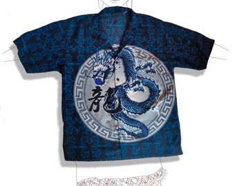 Amazing oriental dragon black and blue button up shirt