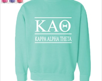 kappa alpha theta theta sorority comfort color greek letters sweatshirt choose your color