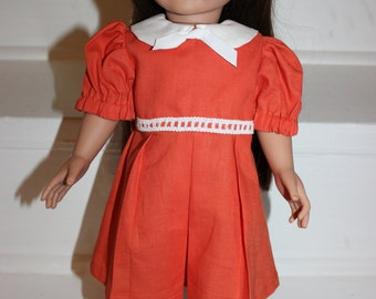 18 inch Doll,18 inch Doll Dress,Doll Clothes,Doll Dress,Orange Dress,American Made Doll Clothes,Hand Made