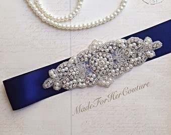 navy bridal sash, Wedding dress sash-wedding Sash Belt-Pearl Crystal Sash-Rhinestone belt -Navy Bridal Belt -Bridal Sash-Blue wedding Sash