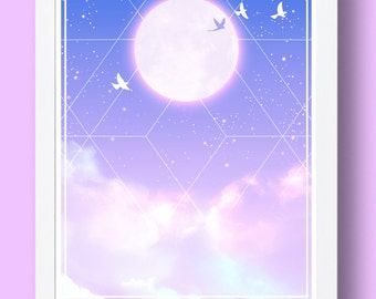 Atmosphere | Birds flying at dusk with full moon poster print