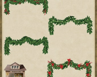 4 Christmas Swag Garlands Wreath PNG 1 *Instant Download*