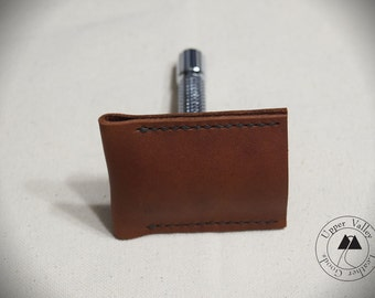 Leather Razor Cover Leather Razor Sheath Travel Case Safety Razor Brown Leather Made in USA