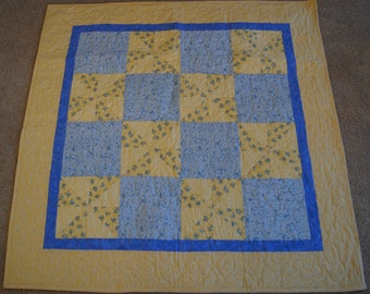 Pinwheel and Square Design – LAP or BABY QUILT – Blue & Yellow