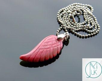 Rhodonite Gemstone Angel Wing Pendant Necklace Natural Chakra Healing Stone FREE UK SHIPPING