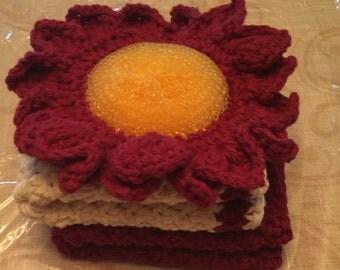 Crochet dishcloths and pot scrubber