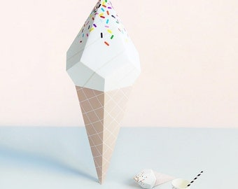 Paper ice creams 3d paper craft kit paper toys ice cream giant ice cream paper sculpture kit vanilla soft serve 3d paper craft sweet pronofoot35fo Choice Image