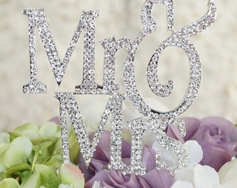Large Silouhette  silver tone Mr and Mrs wedding cake topper covered in crystal rhinestones wedding decoration