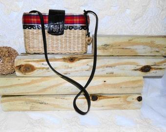 Mini Vintage Brighton Woven Straw And Leather Shoulderbag Tote Purse