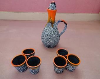 LIQUEUR SET in Vallauris ceramic