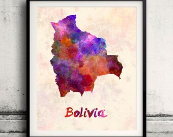 Bolivia - Map in watercolor - Fine Art Print Glicee Poster Decor Home Gift Illustration Wall Art Countries Colorful - SKU 1722