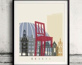 Geneva skyline poster - Fine Art Print Landmarks skyline Poster Gift Illustration Artistic Colorful Landmarks - SKU 1851