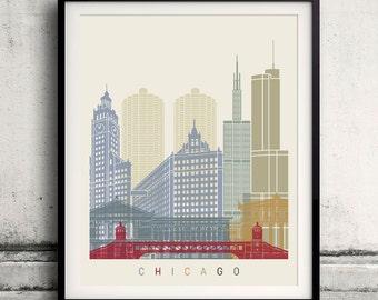 Chicago skyline poster - Fine Art Print Landmarks skyline Poster Gift Illustration Artistic Colorful Landmarks - SKU 1860